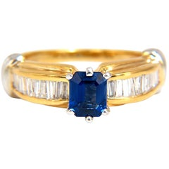 1.86Ct Natural Classic Royal Vivid Blue Sapphire Diamond Ring 14Kt Two Toned