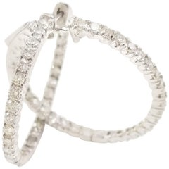 1.87 Carat Diamond Hoop Earrings 14 Karat White Gold