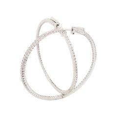 1.87 Carat Diamond Large Hoop Earrings 14 Karat White Gold