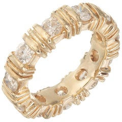 1.87 Carat Diamond Yellow Gold Eternity Wedding Band Ring