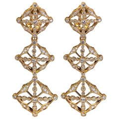1.87 Carat F-VVS Diamond 18 Karat Gold Detachable Dangle Earrings