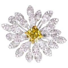 1.87 Carat Non Certified Yellow Diamond Cocktail Ring