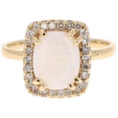 1.87 Carat Opal Diamond 14 Karat Yellow Gold Ring