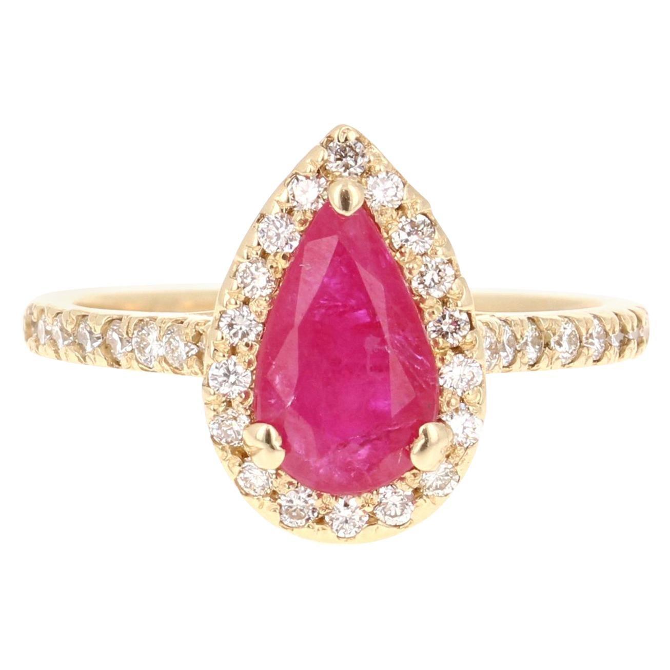 Ruby Diamond 1.87 Carat 14 Karat Yellow Gold Engagement Ring