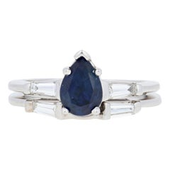 1.87 Carat Pear Cut Sapphire and Diamond Ring and Wedding Band 14 Karat Gold Set