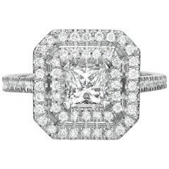 1.87 Carat Princess Cut Diamond Engagement Ring on 14 Karat White Gold