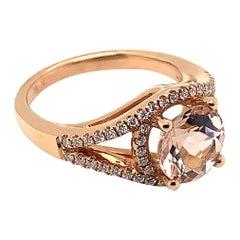 1.87 Carat Round Shaped Morganite Ring in 18 Karat Rose Gold with Diamonds