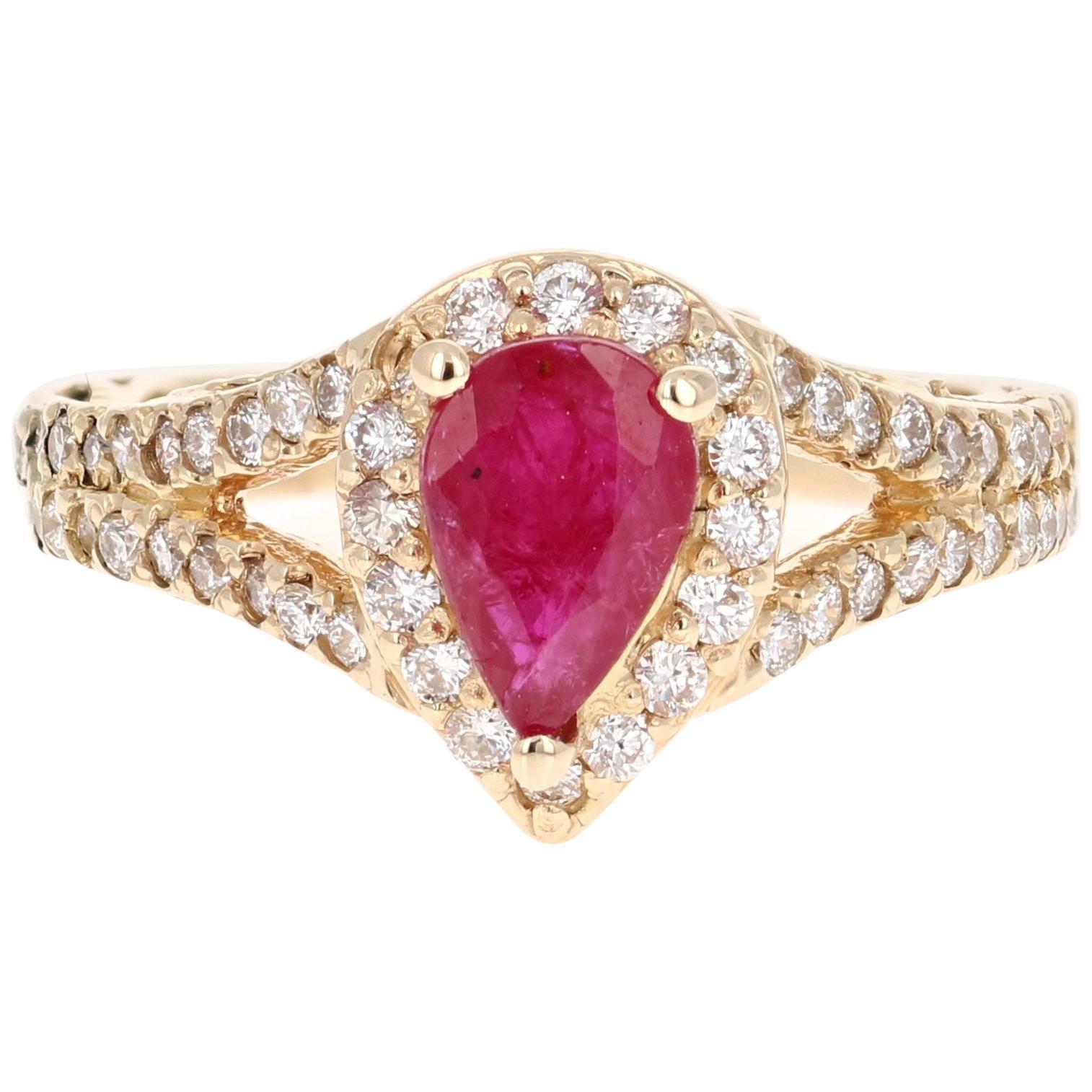 1.87 Carat Ruby Diamond 14 Karat Yellow Gold Ring