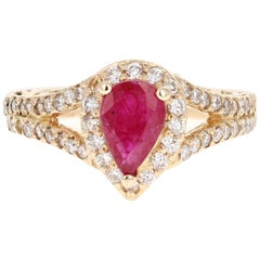 1.87 Carat Ruby Diamond 14 Karat Yellow Gold Ring