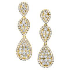 1.87 Carat Total Diamond Yellow Gold Pear Shaped Waterfall Dangle Post Earrings