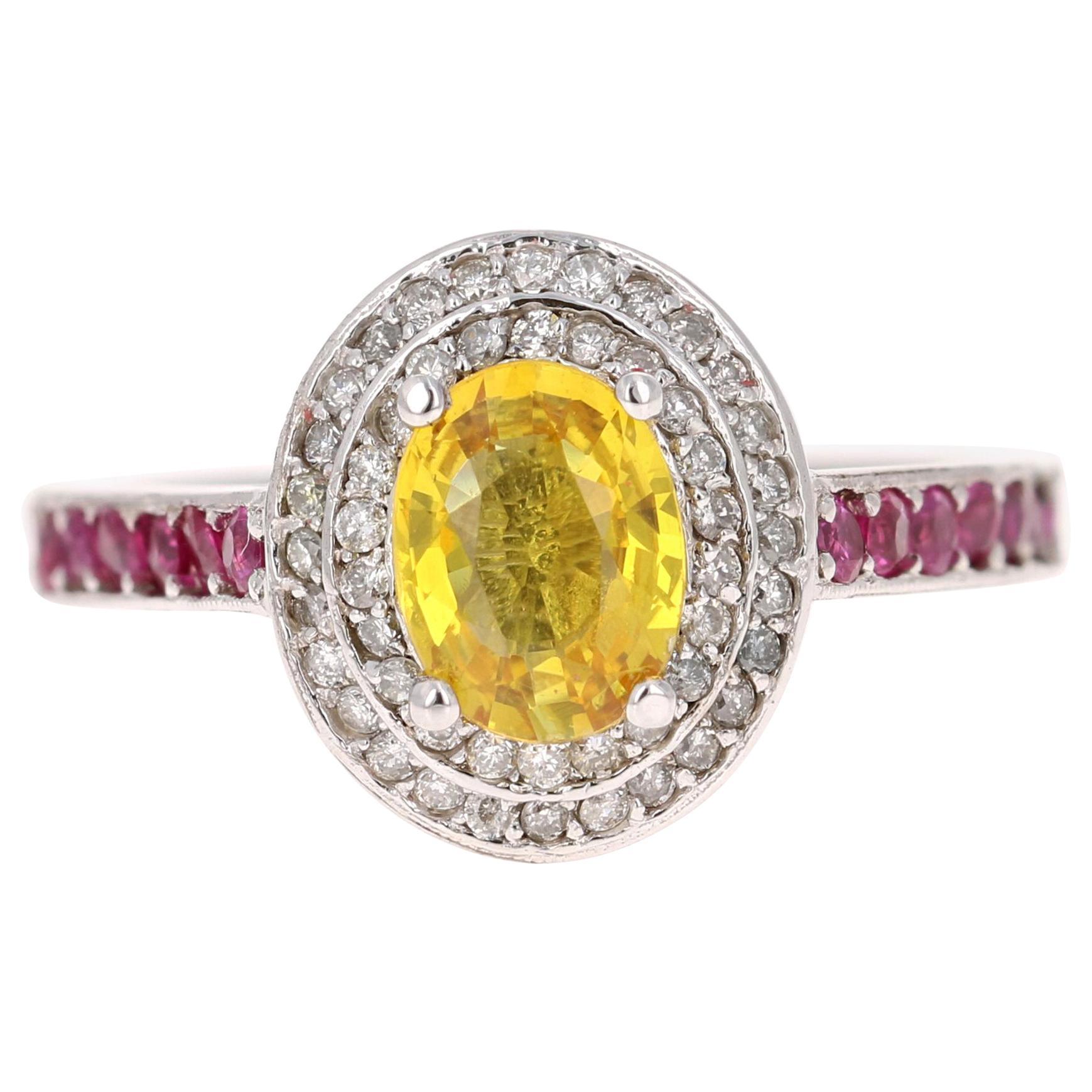 1.87 Carat Yellow Pink Sapphire Diamond 14 Karat White Gold Ring