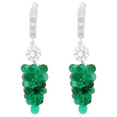 18.70 Carat Briolette Emerald and White Diamond Grape Earrings 14 Karat Gold
