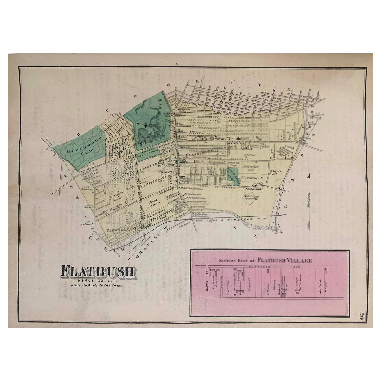 1870 Map Flatbush Brooklyn New York