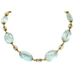 1870 Victorian Aquamarine Rock Crystal 14 Karat Gold Beaded Necklace