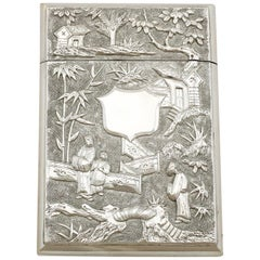 1870s Antique Chinese Export Silver Card Case