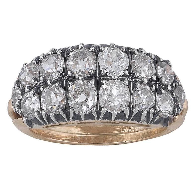 Victorian 1870s Antique Diamond Silver Gold Two Row Band Ring For Sale