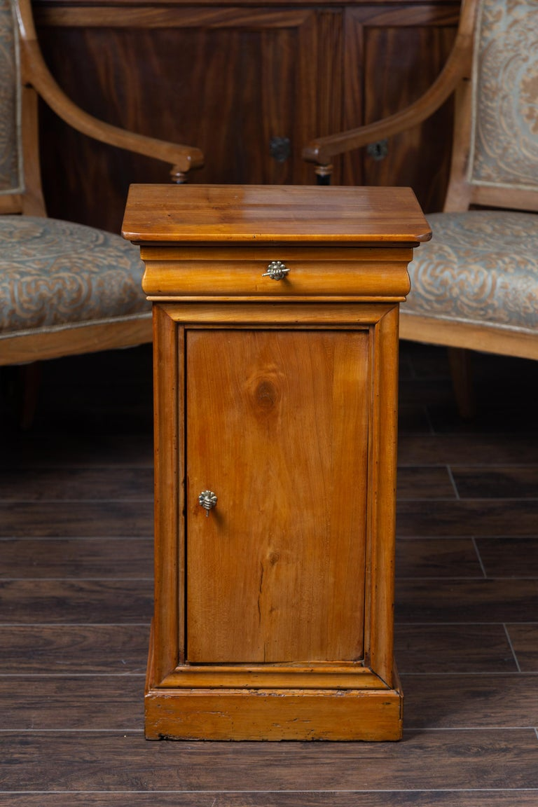 Brass 1870s Austrian Biedermeier Style Walnut Bedside Cabinet with Drawer and Door For Sale