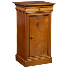 1870s Austrian Biedermeier Style Walnut Bedside Cabinet with Drawer and Door