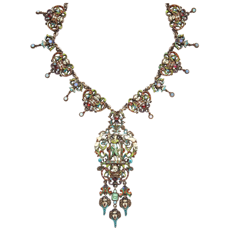 1870s Austro-Hungarian Emerald Garnet Opal Enamel Silver Necklace