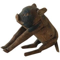 1870s Carved Wood Pig