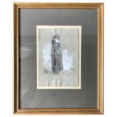 1870s Charcoal Drawing of English Girl