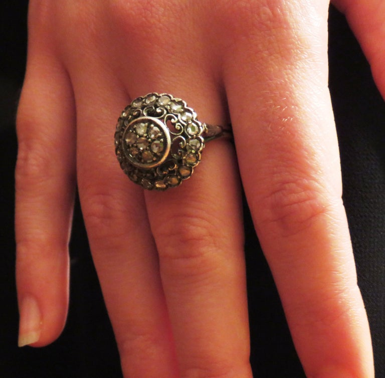 Antique Diamonds Silver Yellow Gold Engagement Dome Ring