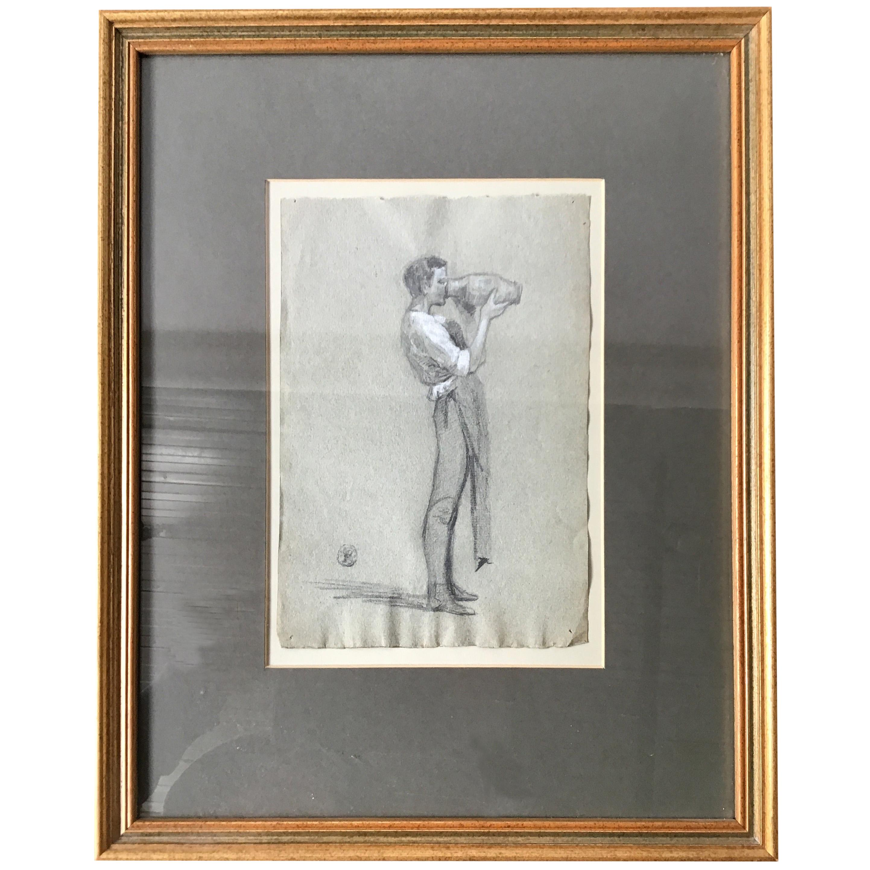 1870s English Charcoal Drawing of a Young Man