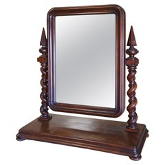 1870s English Empire Mahogany Gentleman's Dressing Shaving Mirror Barley Twist