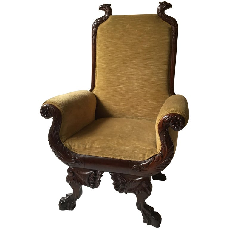 Astonishing 1870S Federal Carved Wood Eagle Throne Chair Beutiful Home Inspiration Ommitmahrainfo