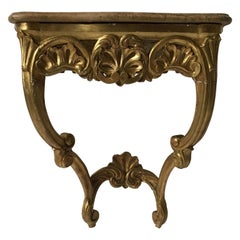 1870s French Giltwood Marble Top Wall Console