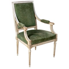 1870s French Louis XVI Style White Lacquered and Velvet Upholstered Armchair