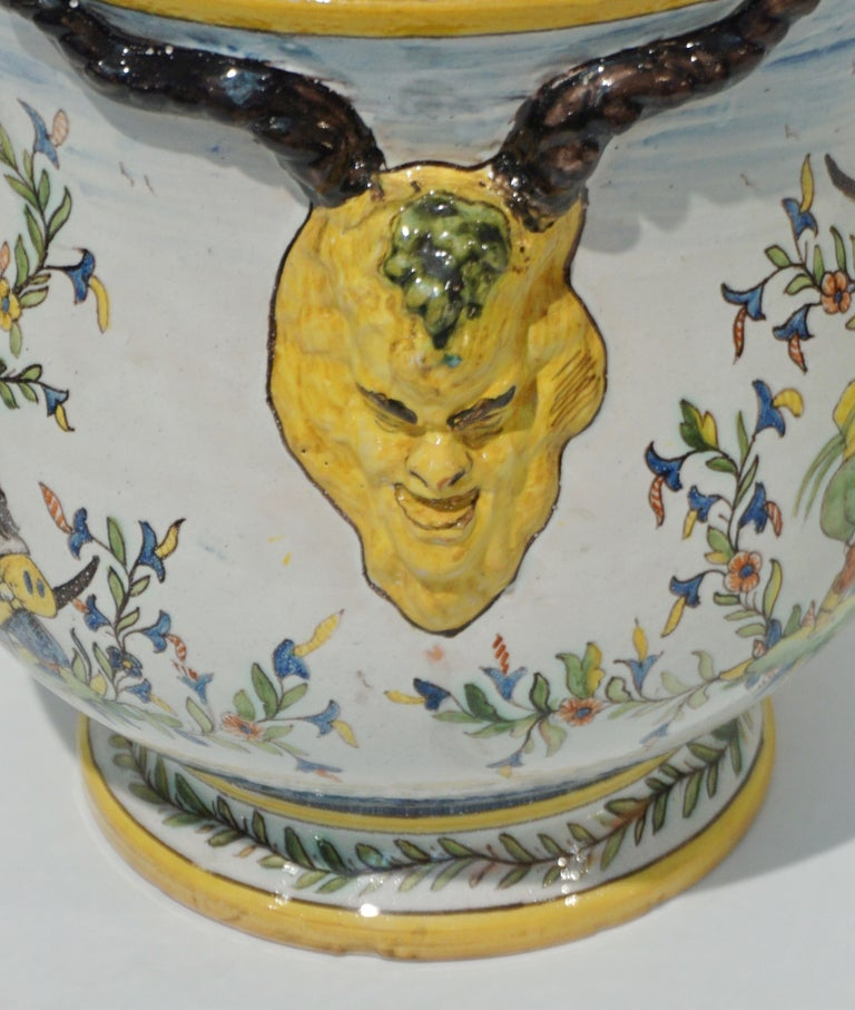 1870s French Pair of Yellow Blue Green Red White Majolica Jardinières / Planters For Sale 4