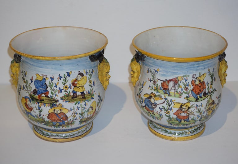 1872-1876, rare pair of fun French faience cachepots with provenance: the manoir