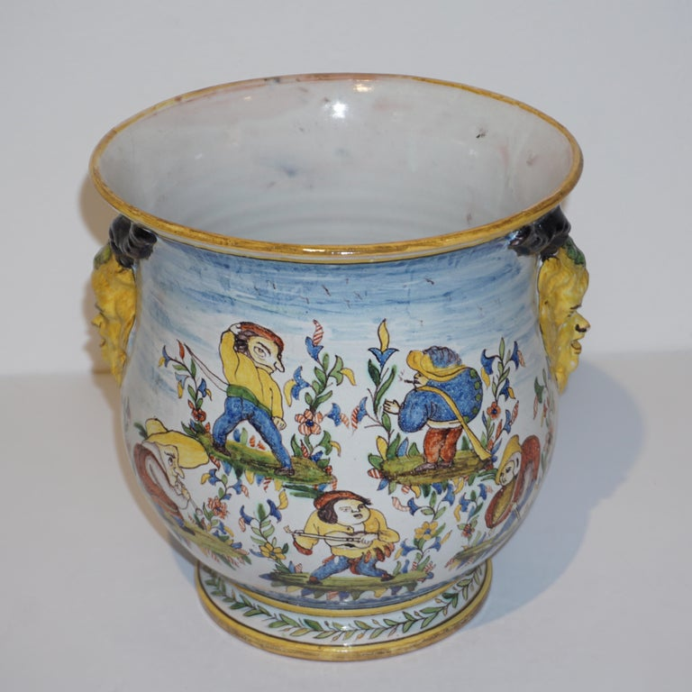 Victorian 1870s French Pair of Yellow Blue Green Red White Majolica Jardinières / Planters For Sale