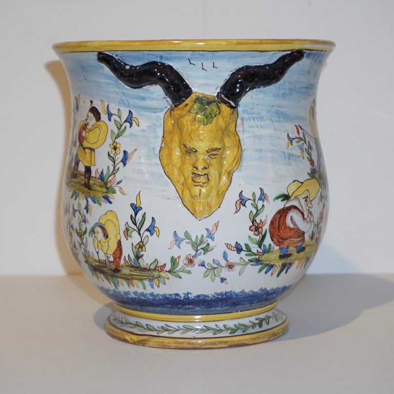 1870s French Pair of Yellow Blue Green Red White Majolica Jardinières / Planters In Good Condition For Sale In New York, NY