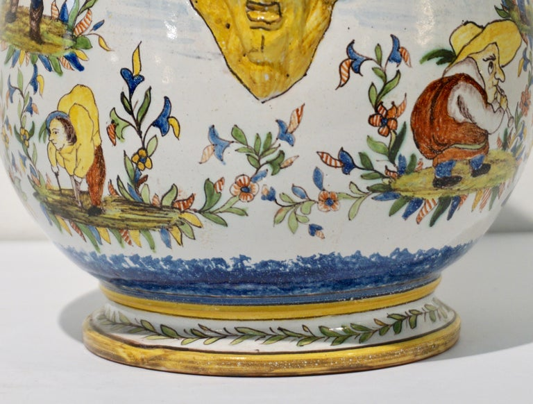 1870s French Pair of Yellow Blue Green Red White Majolica Jardinières / Planters For Sale 3