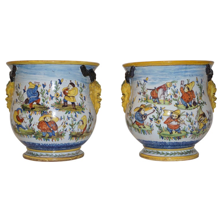 1870s French Pair of Yellow Blue Green Red White Majolica Jardinières / Planters For Sale