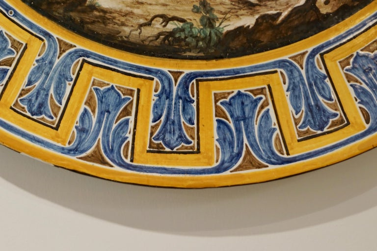 1870s French Rococo Revival Yellow Blue White Enamel Pottery Wall Art Plaque For Sale 6