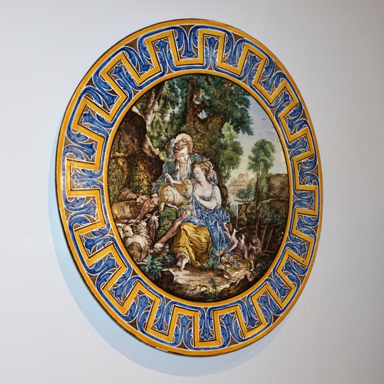 1870s French Rococo Revival Yellow Blue White Enamel Pottery Wall Art Plaque For Sale 11