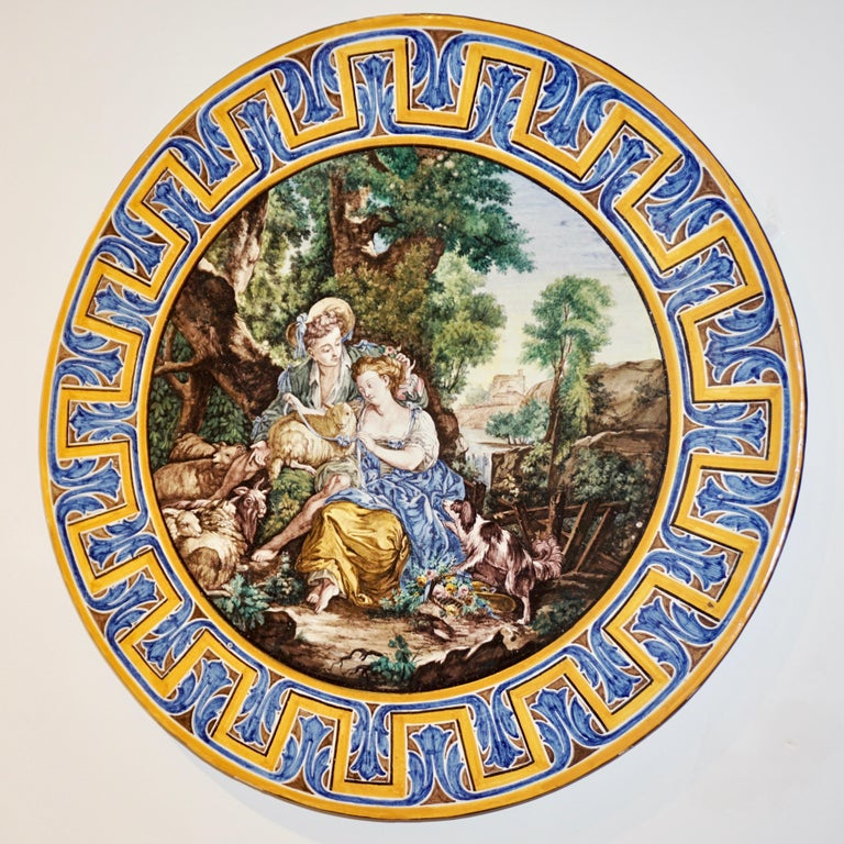 Hand-Crafted 1870s French Rococo Revival Yellow Blue White Enamel Pottery Wall Art Plaque For Sale