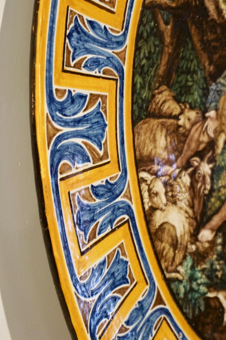 1870s French Rococo Revival Yellow Blue White Enamel Pottery Wall Art Plaque For Sale 3