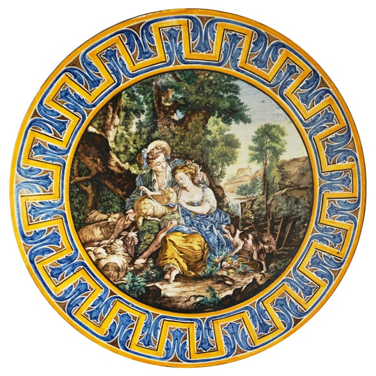 1870s French Rococo Revival Yellow Blue White Enamel Pottery Wall Art Plaque For Sale