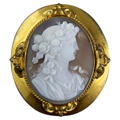 1870s Gold-Finish Metal Antique Brooch with Shell Cameo