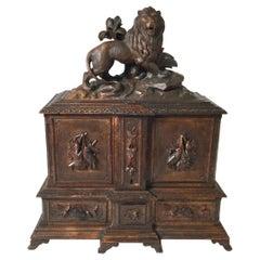 1870's Hand Carved Black Forrest Humidor Cabinet