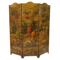 1870s Italian Painted Screen of Hunters on Hoses with Dogs