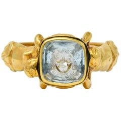 1870s Neoclassical Aquamarine Intaglio 18 Karat Gold Medusa Gorgon Signet Ring