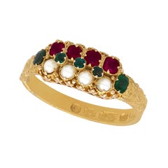 1870s Pearl Emerald Amethyst Yellow Gold Cocktail Ring