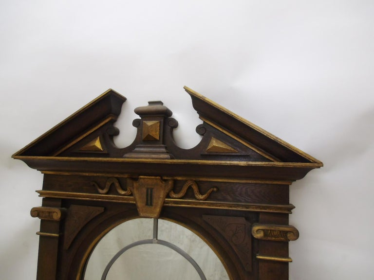 German made sacral way of the cross window from the late 19th century. Made out of solid oakwood with finely crafted details and gable. The window itself features a lead glazed window. Below you can read the letterin