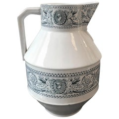 1870s Victorian Aesthetic Style Blue and White English Ceramic Jug