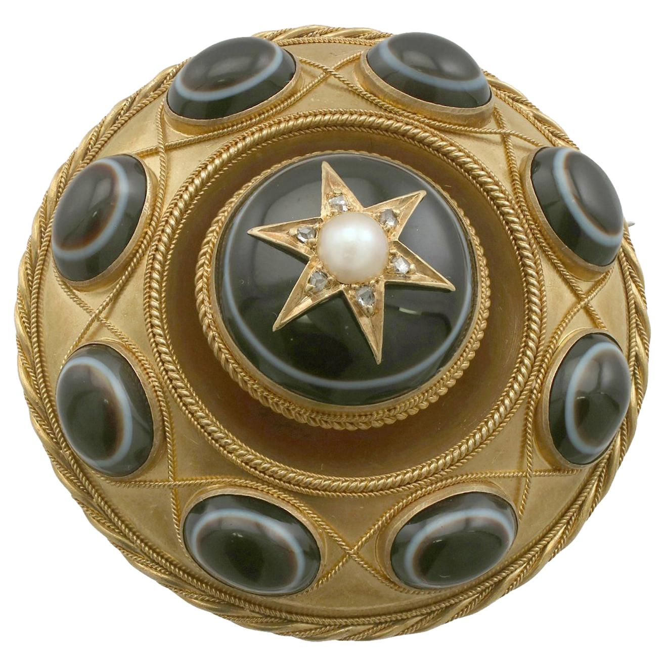 1870s Victorian Agate and Seed Pearl, Diamond Yellow Gold Mourning Brooch